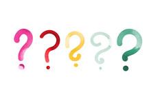 Vector Watercolor Question Marks