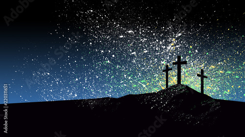 Photo Christian Crosses against graphic splattered blue sky background