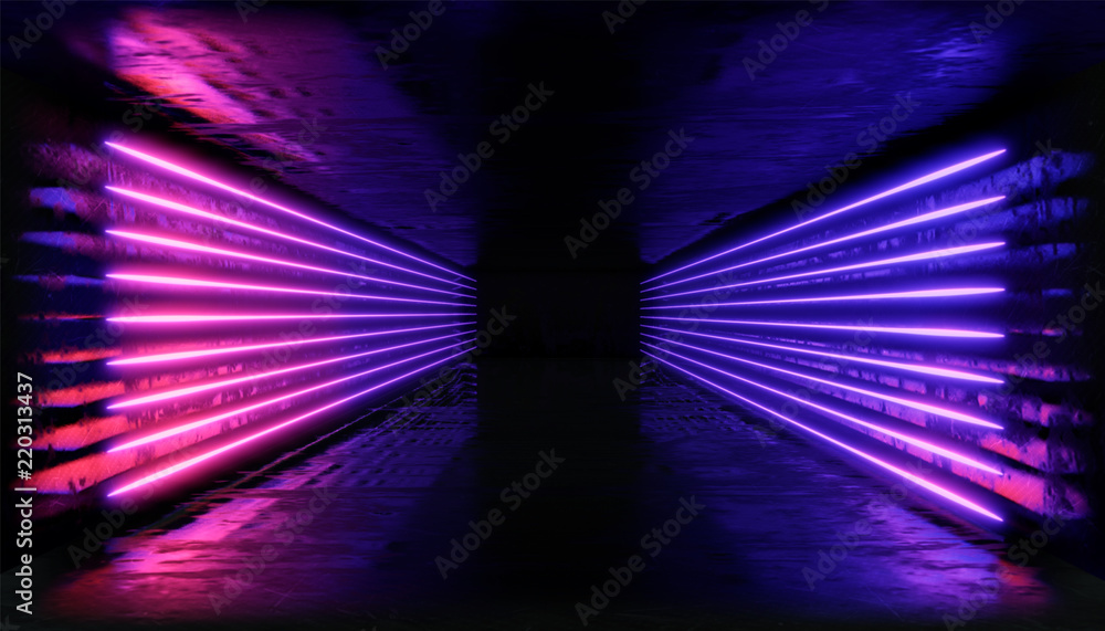 Fototapeta 3d render. Geometric figure in neon light against a dark tunnel. Laser glow.