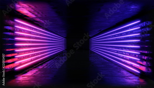 Obraz 3d render. Geometric figure in neon light against a dark tunnel. Laser glow. - fototapety do salonu
