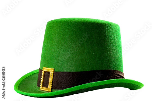 Obraz St Patricks day meme and March 17 concept with a green parade hat with a belt and buckle isolated on white background with a clip path cut out - fototapety do salonu