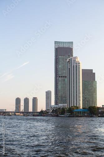 Deurstickers Stad gebouw Skyscrapers on Chao Phraya River in Bangkok, Thailand.