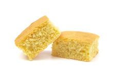 Square Cornbread Slices On A W...