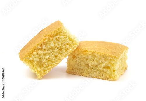 Square Cornbread Slices on a White Background