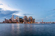 Night View of New York City from Governors Island in New York Harbor
