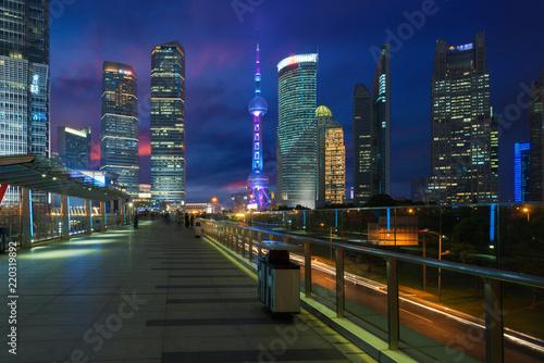 Deurstickers Stad gebouw Shanghai Lujiazui skyscraper finance district at night in Shanghai, China.