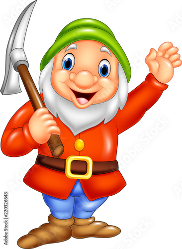 Photo Cartoon happy dwarf miner