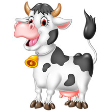 Cartoon Happy Cow Isolated On ...