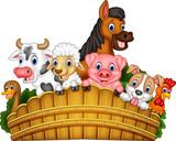 Fototapeta Fototapety na ścianę do pokoju dziecięcego - Cartoon farm animals