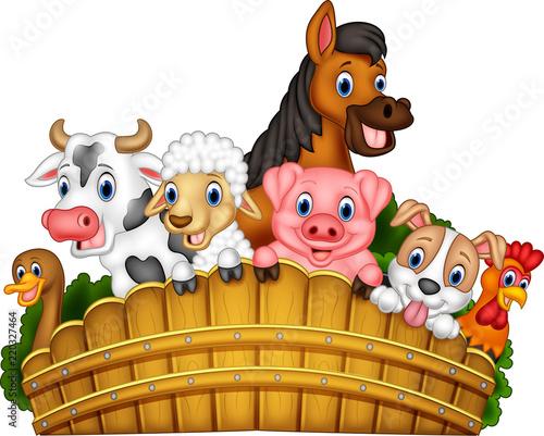 Stampa su Tela Cartoon farm animals