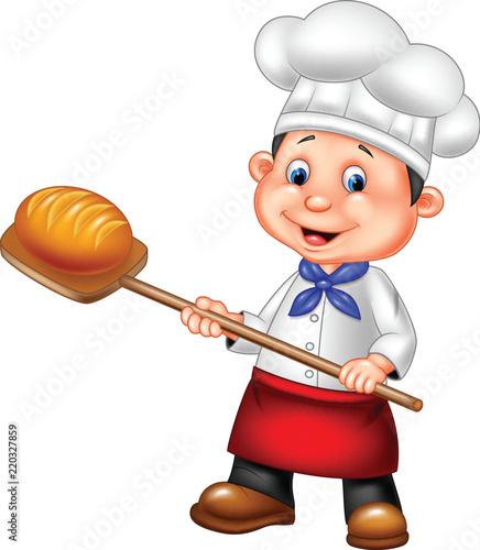 Papel de parede Cartoon baker holding bakery peel tool with bread