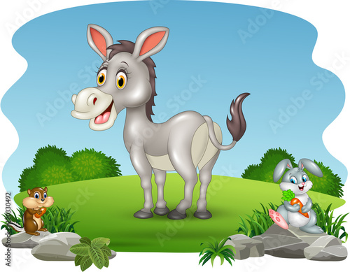 Poster Dogs Cartoon funny donkey with nature background