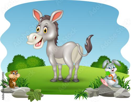 Keuken foto achterwand Honden Cartoon funny donkey with nature background