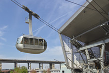 Aerial Tram Descending At The Station Portland OR.
