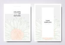 Floral Greeting/invitation Card Template Design, Hand Drawn Sunflower, Minimalist Pastel Style