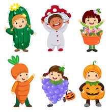 Vector Cartoon Of Cute Kids In Plant Costumes Set. Carnival Clothes For Children.