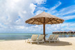 Sunbed and umbrella in the Maldives