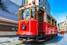 Retro Tram In Istanbul,