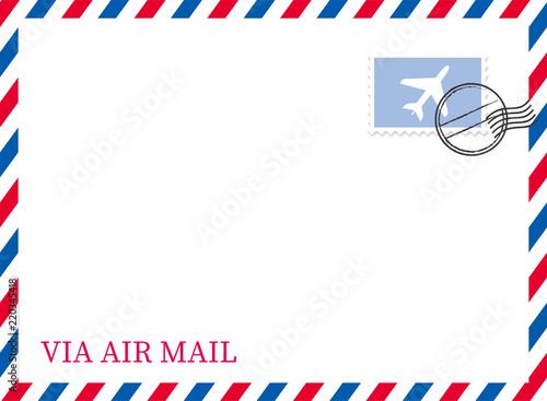 Photo エアメールのイラスト背景(切手・消印付き) ベクターデータ|トリコロールカラー|Airmail