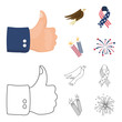 American eagle, ribbon, salute. The patriot day set collection icons in cartoon,outline style vector symbol stock illustration web.