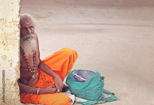Portrait of Indian Sadhu with Begging Bowl