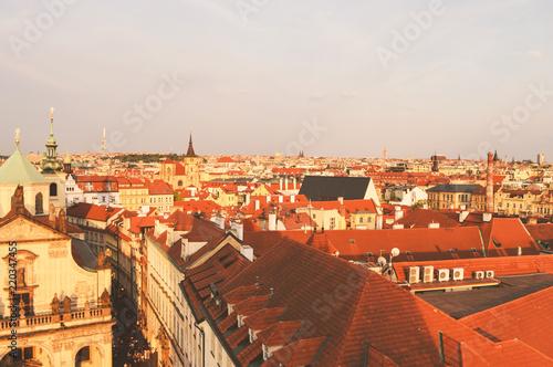 Prague, Czech Republic, top view of the city in vintage colors