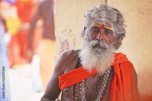 Portrait of Indian Sadhu Posing to Camera