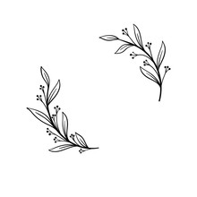 Hand Drawn Vector Frame. Floral Wreath With Leaves For Wedding And Holiday. Decorative Elements For Design. Isolated On White Background