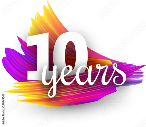 Ten years greeting card with colorful brush strokes. Wallpaper Mural
