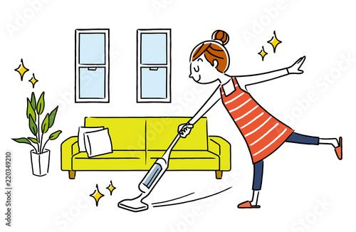 Obraz na plátně 女性:部屋、掃除、掃除機、コードレス