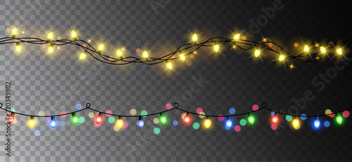Vector realistic seamless light garland set isolated on dark background