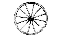 Old Wheel Cart Vector Illustra...