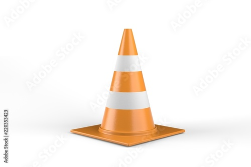 Fotografía  Traffic Cone isolated On White Background