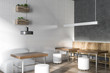 Coffee shop corner white and gray