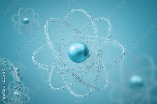 Cyan atom model over blue background Fototapete