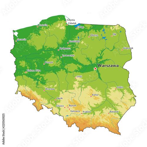 Naklejka premium Polska mapa fizyczna