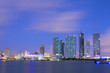 Night skyline of Downtown Miami from Watson Island, Miami, Florida, United States of America, North America