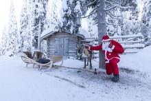 Santa Claus And Reindeer, Ruka (Kuusamo), Northern Ostrobothnia Region, Lapland, Finland