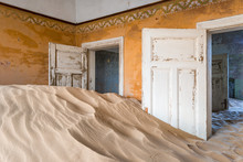 The Interior Of A Building In The Abandoned Diamond Mining Ghost Town Of Kolmanskop, Namibia