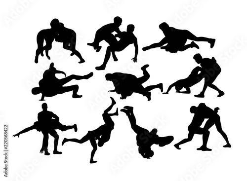 Photo  Wrestling Sports Silhouette, art vector design