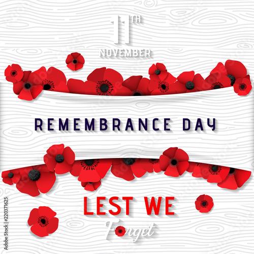 Obraz Remembrance Day 11 November United Kingdom (lest we forget). Great remembrance war world flanders.  - fototapety do salonu