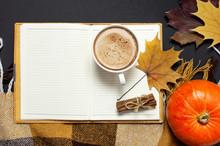 Opened Notebook, Cup Of Pumpki...