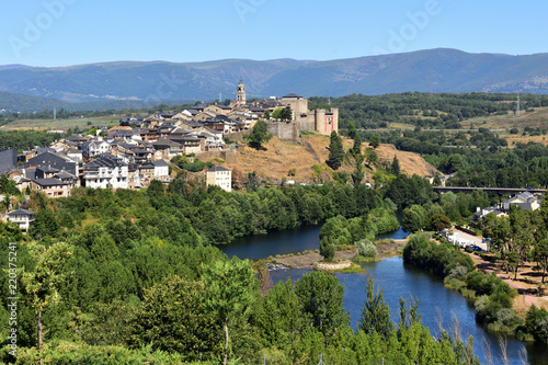 Elevated view of the medieval town of Puebla de Sanabria and the river Tera, Zamora province, Castilla-Leon, Spain