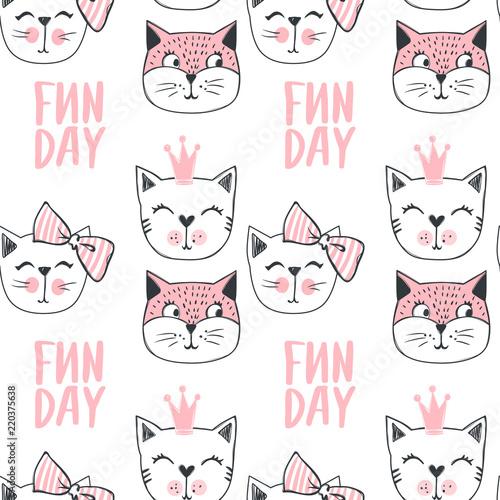 Fashion cat seamless pattern. Cute kitten background Canvas Print