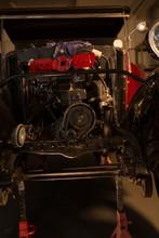Vintage Car Engine In Garage
