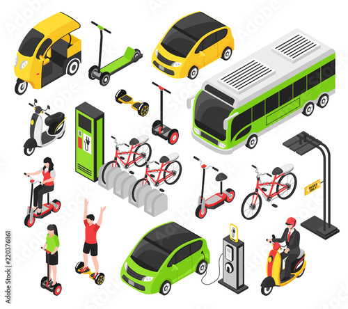 Eco Transport Isometric Set Canvas Print
