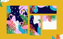 Tropical Jungle Leaves Cards Background With Flamingos And Toucan. Colorful Tropical Poster Design. Exotic Leaves, Plants And Branches Art Print. Wallpaper, Fabric, Textile Vector Illustration Design