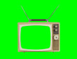 canvas print picture - 1960s Television with Antennas and Chroma Green Background and Screen
