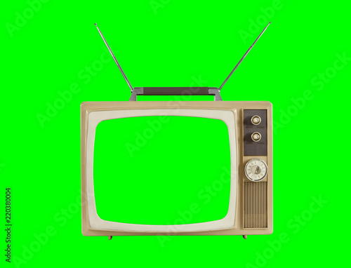 Photo 1960s Television with Antennas and Chroma Green Background and Screen
