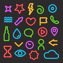 Neon Light Color Elements Vector Set